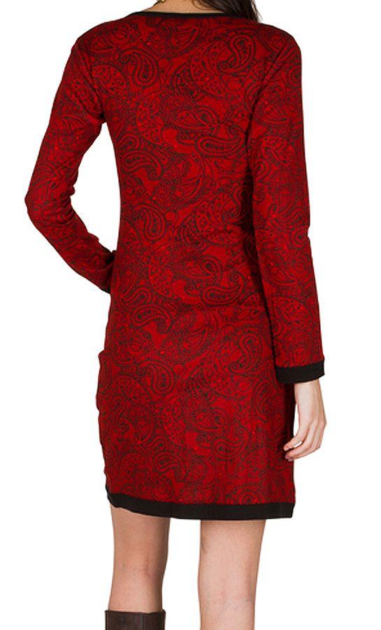 Robe courte ultra tendance avec imprimés et col rond Rouge Olympe 301754