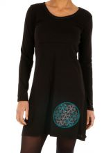 Robe courte unie noire originale à manches longues Issia 314005