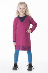 Robe courte unie rose avec un col en V pour fille 286347