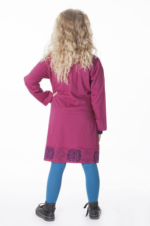 Robe courte unie rose avec un col en V pour fille 286348