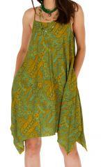 Robe courte verte asymétrique et imprimée Clara