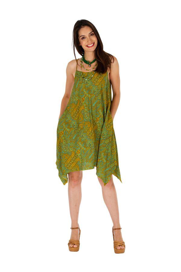 Robe courte verte asymétrique et imprimée Clara 307020