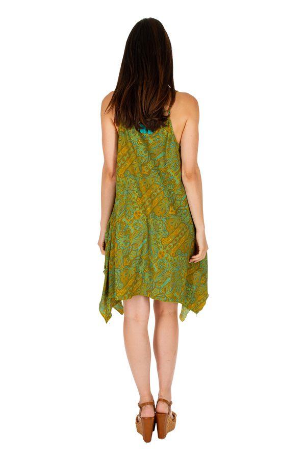 Robe courte verte asymétrique et imprimée Clara 307021