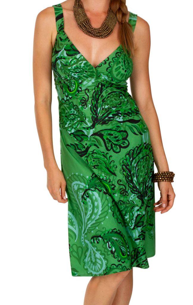 Robe courte verte boho chic tendance bohème Louni 307488