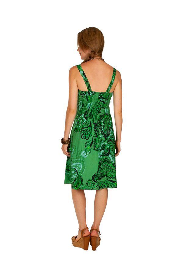 Robe courte verte boho chic tendance bohème Louni 307490