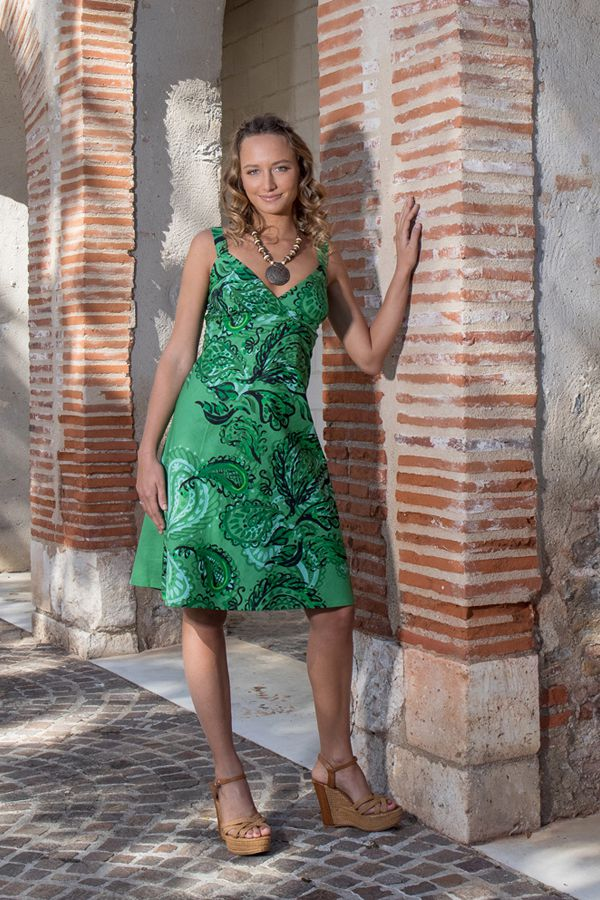 Robe courte verte boho chic tendance bohème Louni 307491
