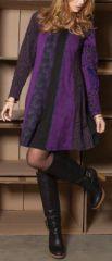 Robe courte violette à manches longues ethnique et chic Cindy