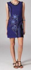 Robe courte violette en coton Vahina 269003