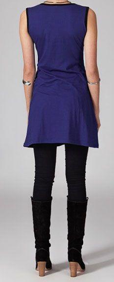 Robe courte violette en coton Vahina