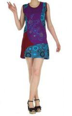 Robe courte violette imprimée Louisa 268939
