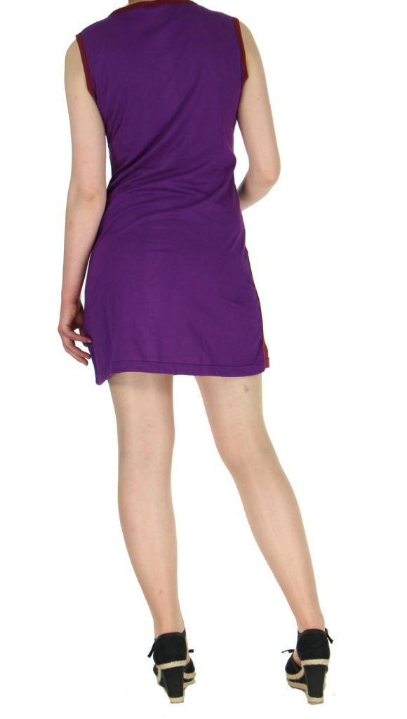 Robe courte violette imprimée Louisa 268940