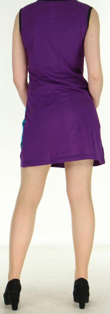 Robe courte violette originale et ethnique en coton Massilia 270712