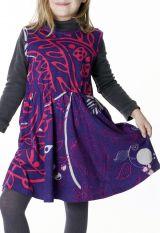 Robe courte violette style ethnique pour enfant 287391