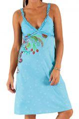 Robe d'été à bretelles et décolleté en V Bleue Tendance et Imprimée Meltem 285941