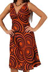 Robe d'été à bretelles et décolleté en V Orange Imprimée et Originale Lekha 285861