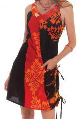 Robe d'été à col collier Ethnique et Originale Carlita Noire 281327