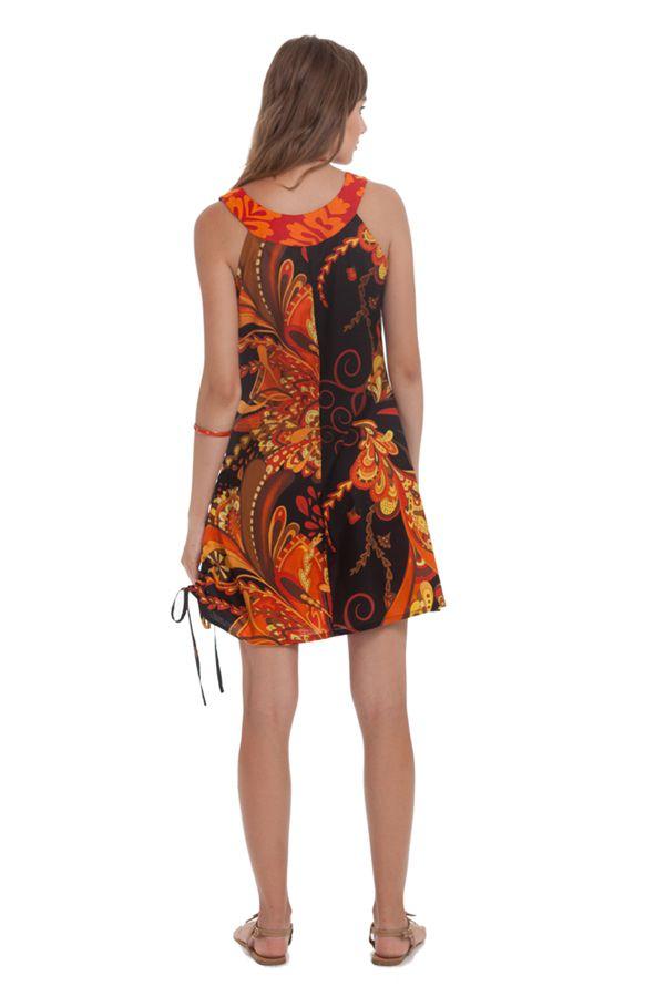 Robe d'été à col collier Ethnique et Originale Carlita Noire 281329