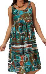 Robe d'été à col rond Bleue Imprimée et Tendance Lolupa 285901