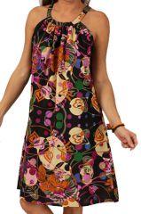 Robe d'été à col rond Colorée et Imprimée Noire Harilal 285889
