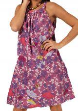Robe d'été à col rond Rose Imprimée et Tendance Kashika 285873