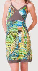Robe d'été à fines bretelles Ethnique et Colorée Clarisa Bleue 276897