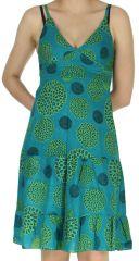 Robe d'été à fines bretelles Ethnique et Colorée Lucie Bleue 279235