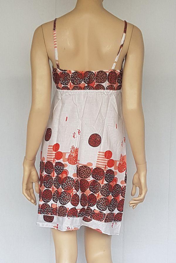 Robe d'été à fines bretelles ethnique et imprimée Blanche Pirouette 302410