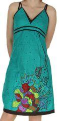 Robe d'été à fines bretelles Ethnique et Originale Liliane Turquoise 282644