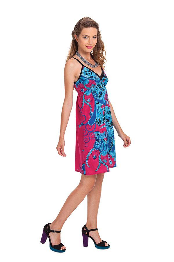 Robe d'été à Fines bretelles Fantaisie et Colorée Cécile Rose 281340