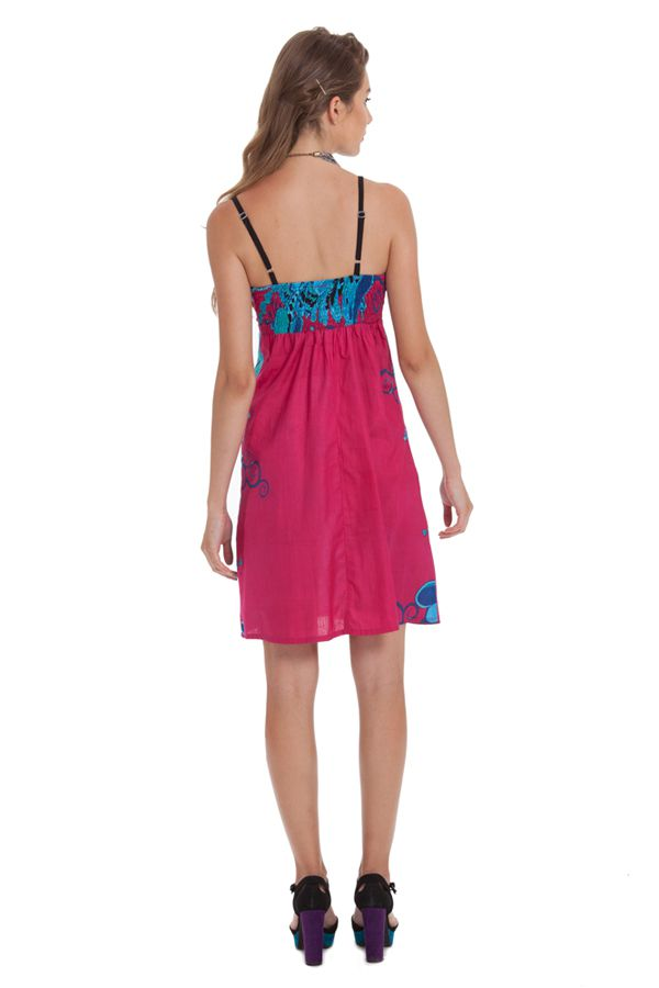 Robe d'été à Fines bretelles Fantaisie et Colorée Cécile Rose 281341