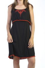 Robe d'été à fines bretelles Originale et Brodée Rouge Pavitral 291209
