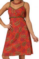 Robe d'été à fines bretelles Rouge Originale et Stylée Virali 285865