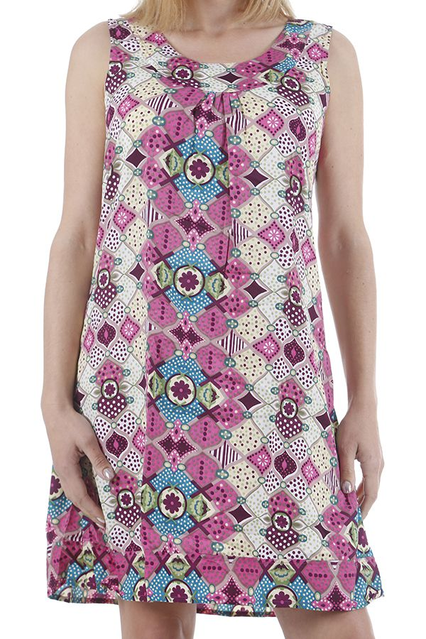 Robe d'été à larges bretelles imprimée et colorée Baptista 310418
