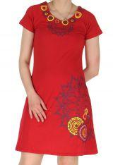 Robe d'été à manches courtes Ethnique et Colorée Ravina Rouge 285138