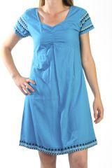 Robe d'été à manches courtes Ethnique et Originale Bleue Maelia 291026