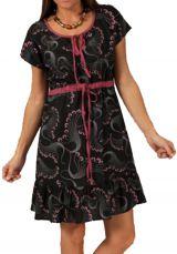 Robe d'été à manches courtes Ethnique et Originale Vandita Noire 283339
