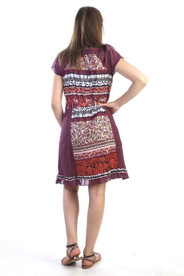 robe manches courtes imprim e et originale couleur rouge kanna. Black Bedroom Furniture Sets. Home Design Ideas