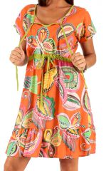 Robe d'été à manches courtes Orange Imprimée et Colorée Galhit 285937