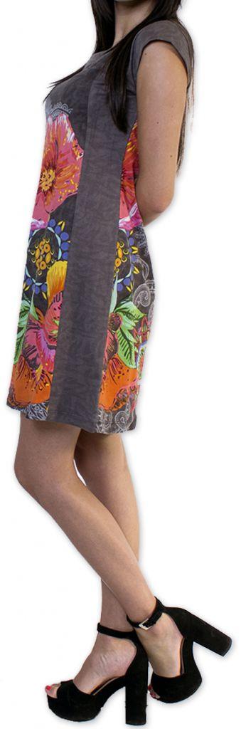 Robe d'été à manches courtes Originale et Colorée Cindie Grise 276875
