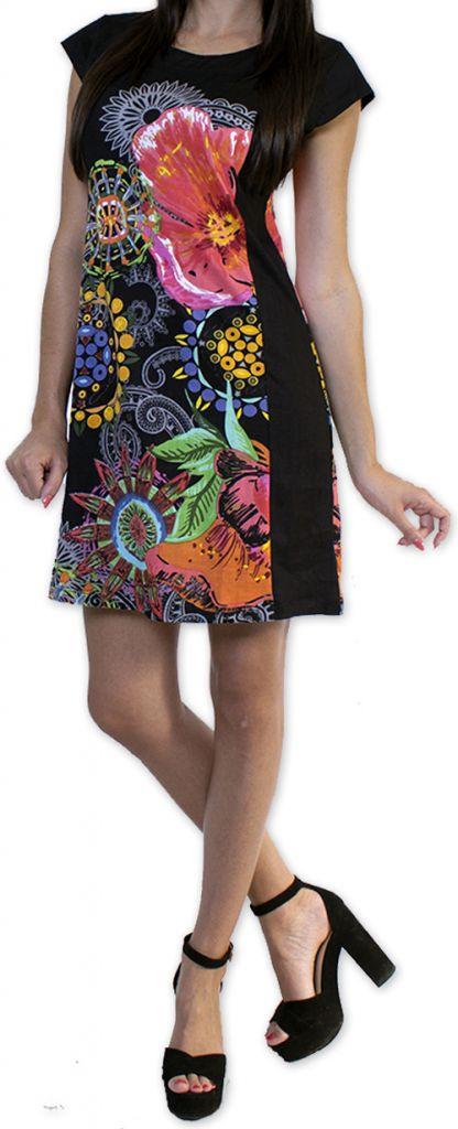 Robe d'été à manches courtes Originale et Colorée Cindie Noire 276870