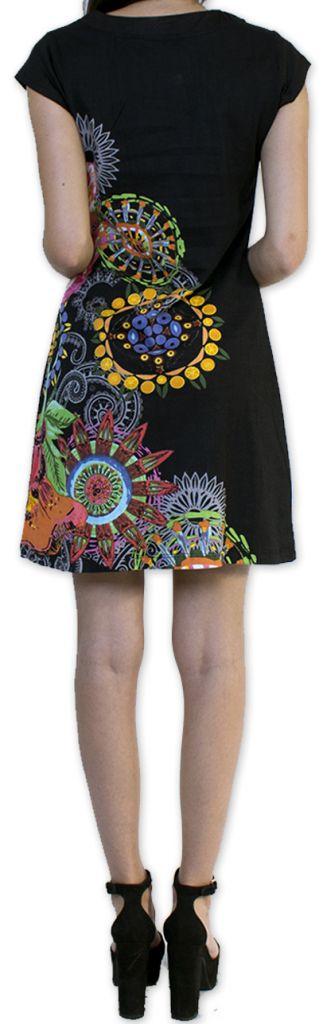 Robe d'été à manches courtes Originale et Colorée Cindie Noire 276872