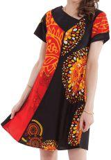 Robe d'été à manches courtes Originale et Ethnique Adalia Rouge 281543