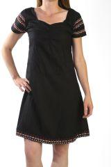 Robe d'été à manches courtes Originale et Ethnique Noire Sunya 291145
