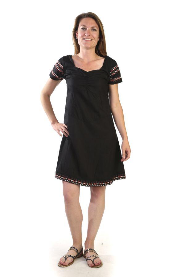 robe manches courtes originale et ethnique couleur noire sunya. Black Bedroom Furniture Sets. Home Design Ideas