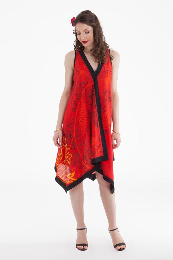 Robe d'été Asymétrique et Ethnique sans manches Paule Rouge 281944