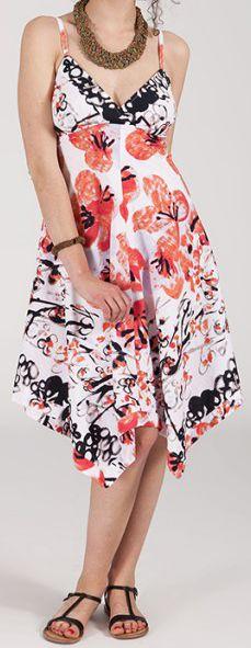 Robe d'été Asymétrique et Originale ASSIA Blanche imprimée RM340 273002