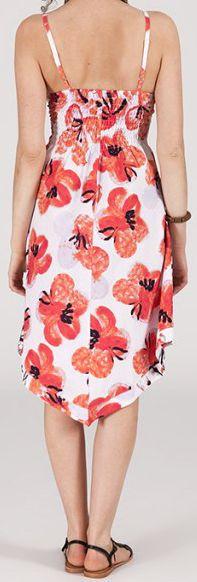 Robe d'été Asymétrique et Originale ASSIA Blanche imprimée RM340 273003