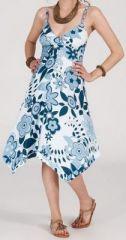 Robe d'été Asymétrique et Originale Assia Bleue et Blanche RM349 272984