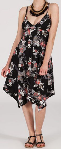 Robe d'été Asymétrique et Originale ASSIA Noire à fleurs RM344 272995