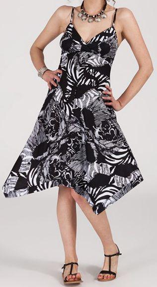 Robe d'été Asymétrique et Originale Assia Noire et Blanche RM350 272981